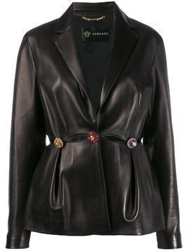 Versace cut out embellished jacket - Black