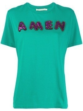 Amen sequin logo T-shirt - Green