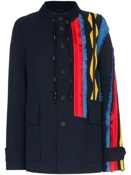 Angel Chen embroidered stripe coat - Blue