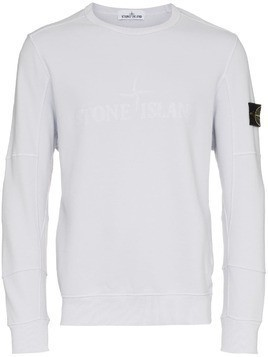 Stone Island Grey Crew Neck Logo Patch Cotton Sweatshirt