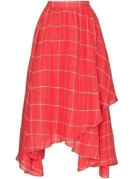Mara Hoffman Akila asymmetric windowpane check-print skirt - Red