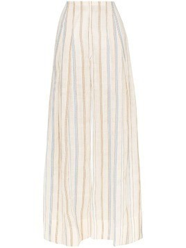 Jacquemus stripe embroidered high waisted wide leg trousers - Neutrals