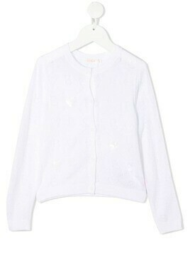 Billieblush logo perforated cardigan - White