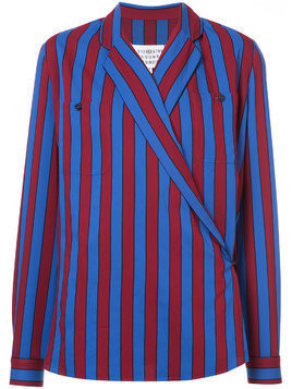 Maison Margiela striped wrap blouse - Blue