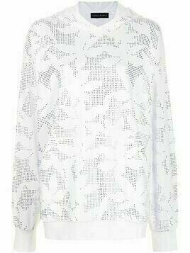 David Koma floral embroidered hoodie - White