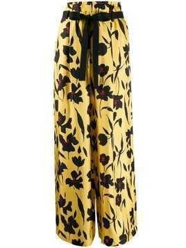 Alysi floral-print wide-leg trousers - Yellow