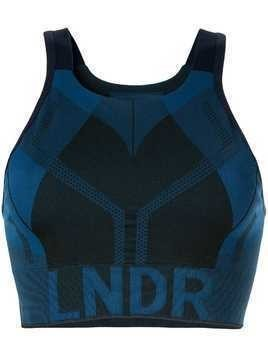 LNDR logo print compression cropped top - Blue
