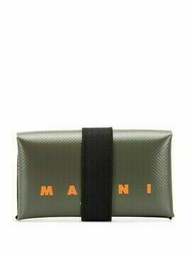 Marni logo print leather wallet - Green