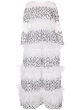 Huishan Zhang Anais tiered feather gown - White