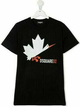 Dsquared2 Kids TEEN Leaf-print crew neck T-shirt - Black