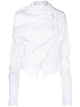 Aganovich asymmetric draped blouse - White