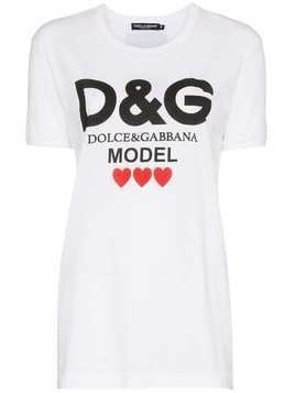 Dolce & Gabbana logo model print cotton t shirt - White