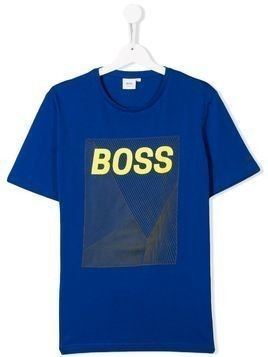 Boss Kids TEEN logo print T-shirt - Blue
