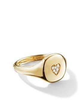 David Yurman 18kt yellow gold Cable Collectibles diamond heart mini pinky ring - 88ADI