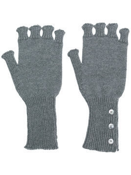 Thom Browne Fingerless Wool Gloves - Grey