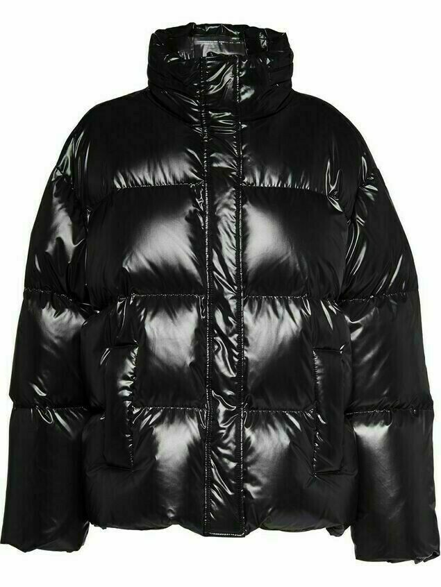 Miu Miu logo panel puffer jacket - Black