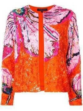 Manish Arora floral pattern sequin jacket - Orange