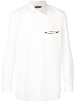 Issey Miyake tailored embroidered pocket shirt - White