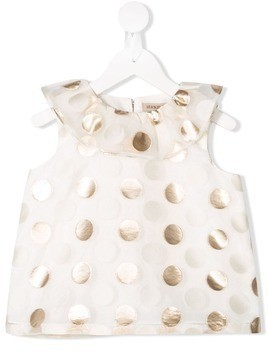 Hucklebones London ruffle neck polka dot top - White