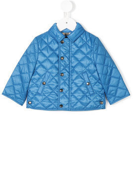 Burberry Kids diamond quilted jacket - Blue