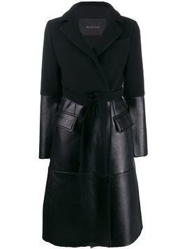 Blancha belted double-breasted coat - Black