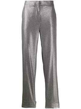 Pt01 metallic straight-leg trousers
