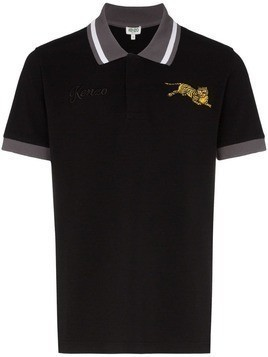 Kenzo tiger appliqué polo shirt - Black