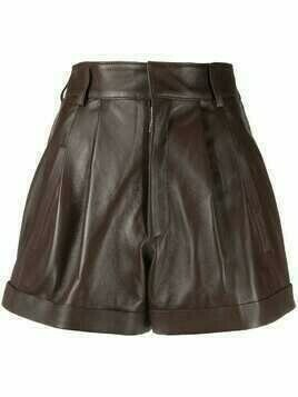 Manokhi high-rise gathered leather shorts - Brown