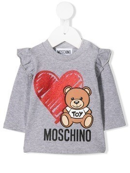 Moschino Kids toy bear print sweatshirt - Grey