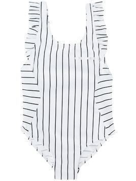 Karl Lagerfeld Kids Striped One-Piece Swimsuit - White