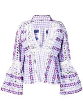 Dodo Bar Or embroidered gingham top - Purple