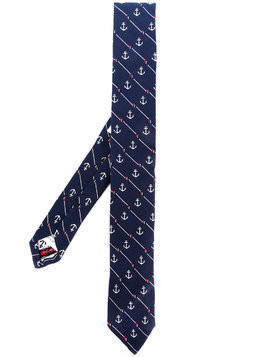 Thom Browne Striped Anchor Icon Necktie In Silk And Cotton - Blue