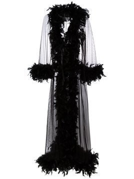 Folies By Renaud feather trimmed sheer robe - Black