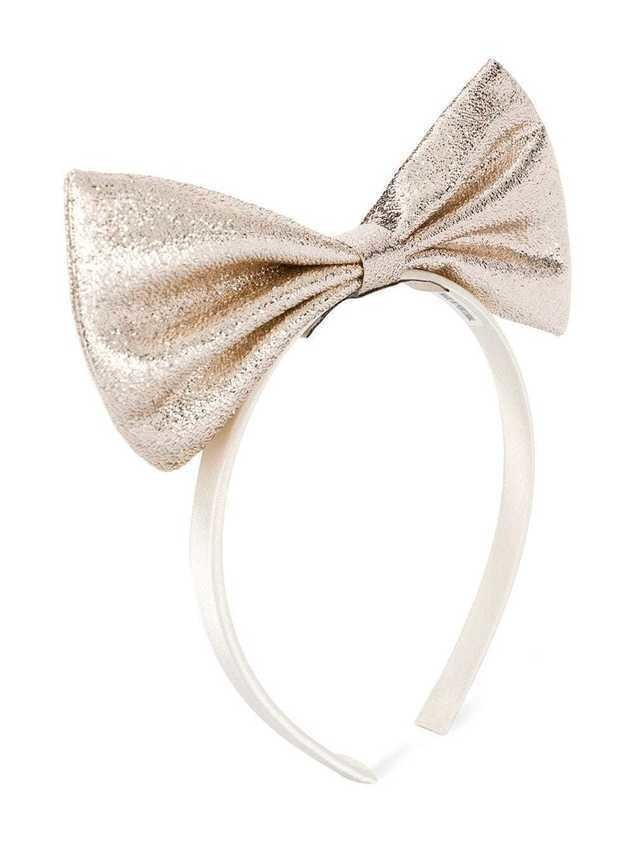 Hucklebones London metallic oversized bow headband - GOLD