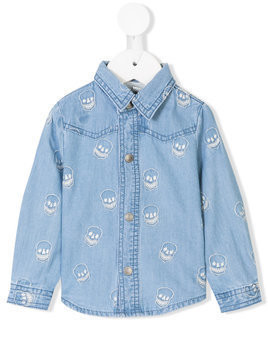 Stella Mccartney Kids skull embroidered denim shirt - Blue