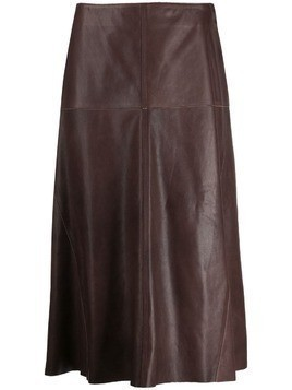 Arma panelled leather skirt - Brown