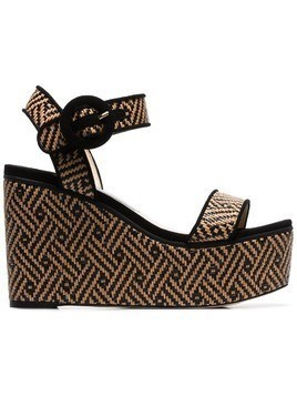 Jimmy Choo nude Abigail 100 woven wedge leather sandals - Black