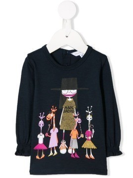 Little Marc Jacobs cartoon print long-sleeve top - Blue