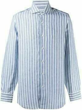 Barba striped linen shirt - Blue