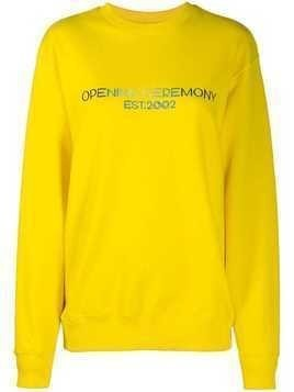 Opening Ceremony embroidered text logo sweatshirt - Yellow