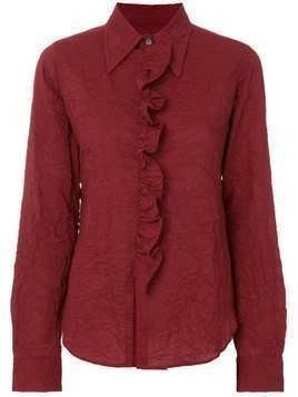 Romeo Gigli Pre-Owned ruffled placket shirt - Red