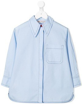 Marni Kids topstitch shirt - Blue