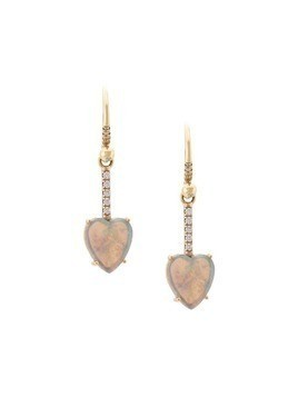 Irene Neuwirth 18kt white and yellow gold heart opal and diamond drop earrings - Metallic