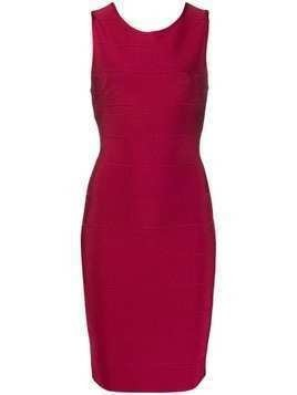 Hervé Léger fitted midi dress - Red
