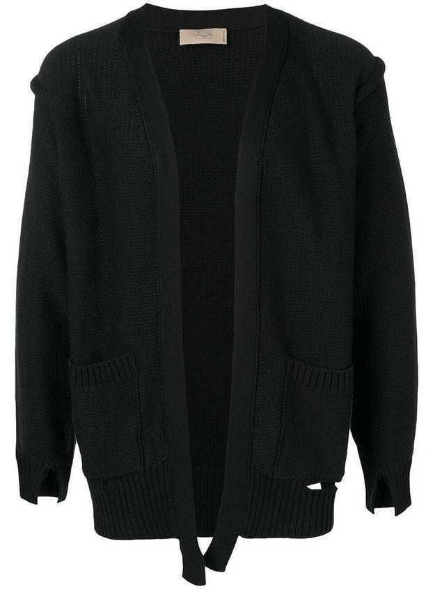 Maison Flaneur distressed-effect cardigan - Black