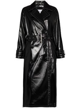STAND STUDIO Shelby belted faux leather coat - Black