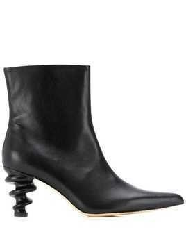 Kalda structured heel ankle boots - Black