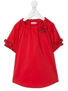 Familiar bow detail top - Red
