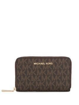Michael Michael Kors logo-print zip-around wallet - Brown
