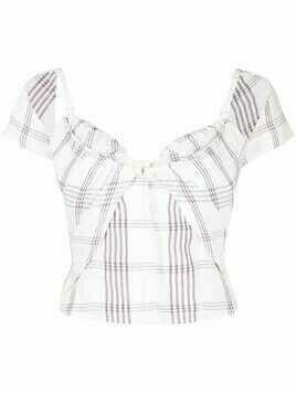 Jacquemus check-pattern short-sleeve blouse - White